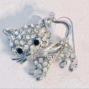 Clear Crystal Silver Tone Cat Brooch